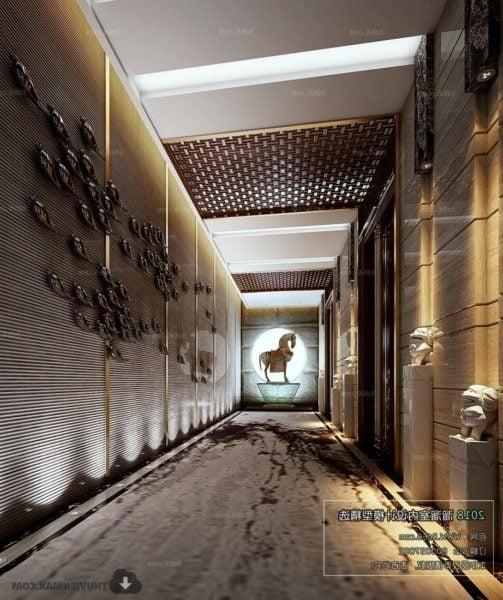 Moderni tyyli hotellin käytäväkoristeiden sisustusmaisema