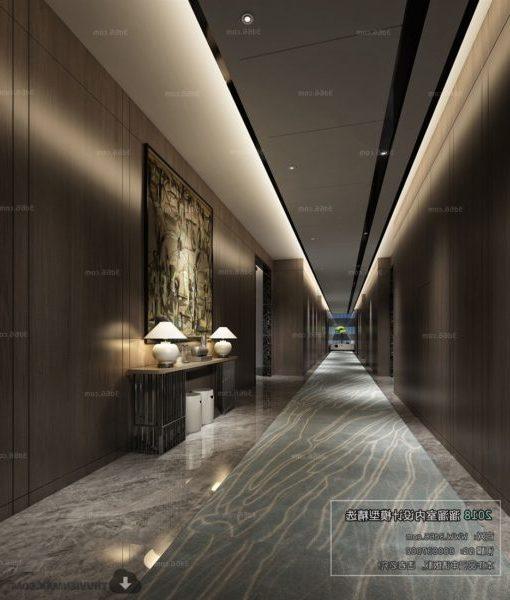Yksinkertainen moderni hotellihotellin aulan sisustusnäkymä