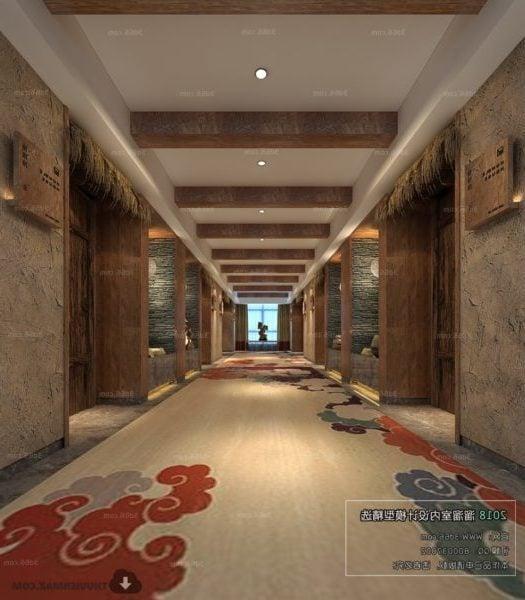 Chinese Style Elevator Lobby Interior Scene