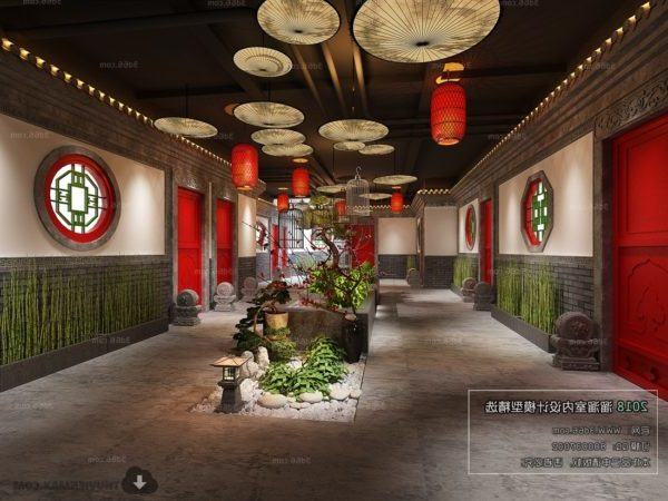 Chinese Building Hotel Indoor Garden Interior Scene
