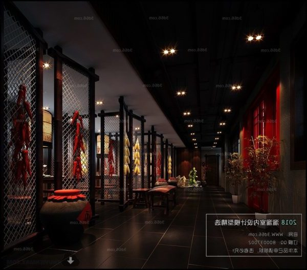 Chinese Style Building Lobby Interior Scene