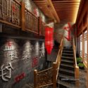Chinese Lobby With Wooden Stair Interior Scene