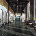 चीनी शैली लॉबी डिजाइन आंतरिक दृश्य