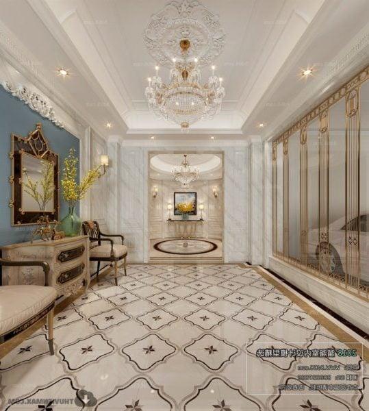 Villa Lobby Classic European Style Interior Scene