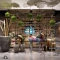 Mix Style Building Lounge Space Interior Scene
