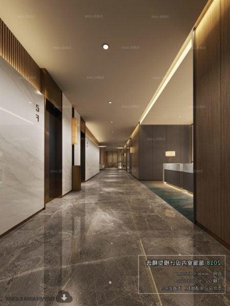 Simple Design Hotel Reception Interior Scene 3d Model Max Vray Open3dmodel 64195
