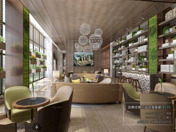 Modern Design Hotel Lounge Space Interior Scene