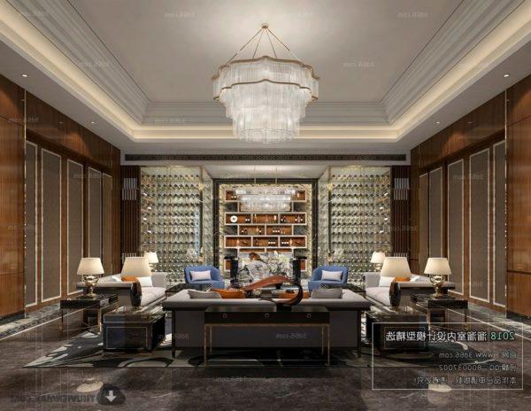 Luxury Living Room With Wine Cabinets Interior Scene