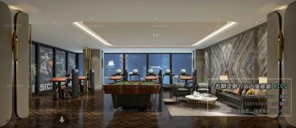 Entertainment Room With Billiards Table Interior Scene