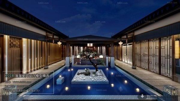 Outdoor Conference Room Chinese Elegant Design Interior Scene