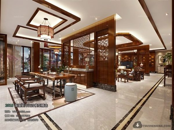 Chinese Style Conference Space Design Interior Scene
