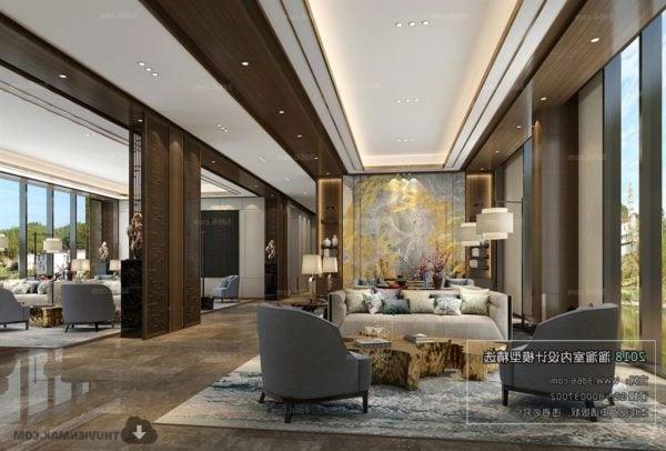 Luxury Hotel Reception Room Interior Scene 3d Model Max Vray Open3dmodel 64245