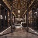 Scena interna di lusso dello spazio di ricezione di legno di stile