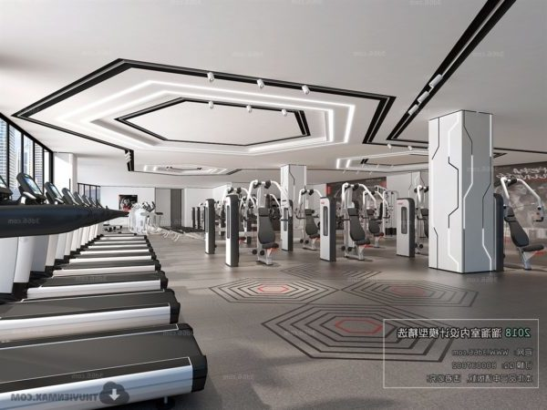 Fitness Center Aerobic Gym Interior Scene