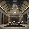 Luxury Resort Reception Room With Pond Interior Scene