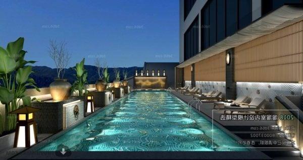 Luxury Outdoor Hotel Swimming Pool Interior Scene