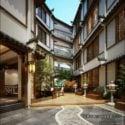 فندق صيني قديم في الهواء الطلق مشهد داخلي