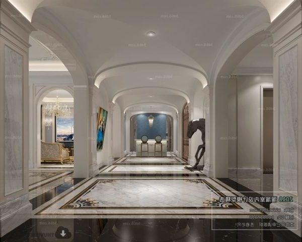 Luxury Villa Lobby Classic Design Interior Scene