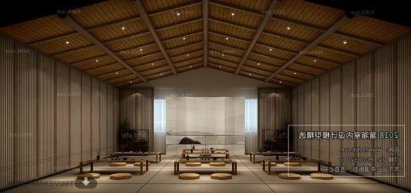 Yksinkertainen japanilaisen ruokasalin sisustusmaisema