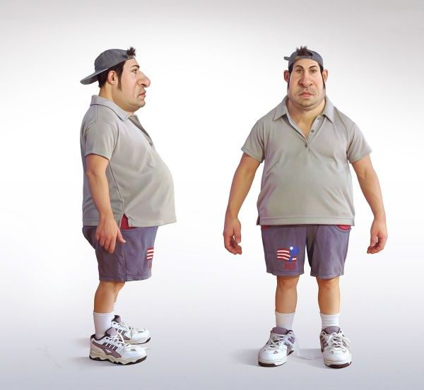 Fat Man Cartoon Character