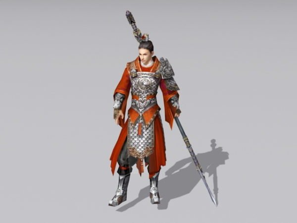 Ancient Chinese Warrior With Spear
