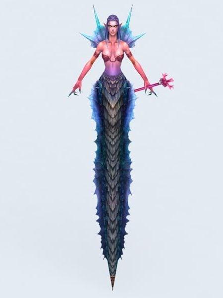 Anime Mujer Naga Serpiente Guerrero