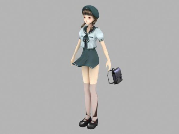 فتاة أنيمي المدرسة مع شخصية حقيبة يد