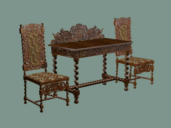 Antique Chinese Reception Table And Chairs