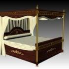 سرير بأربع أعمدة أثرية