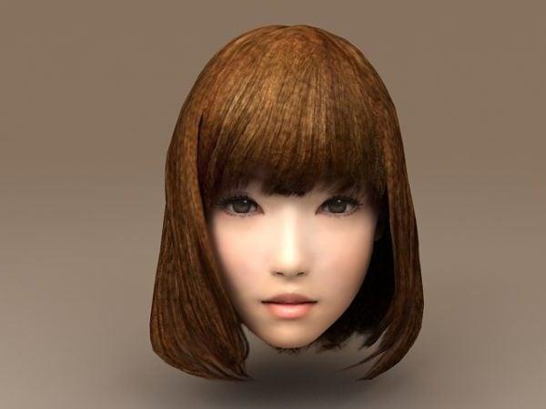 Asiático chica la cabeza