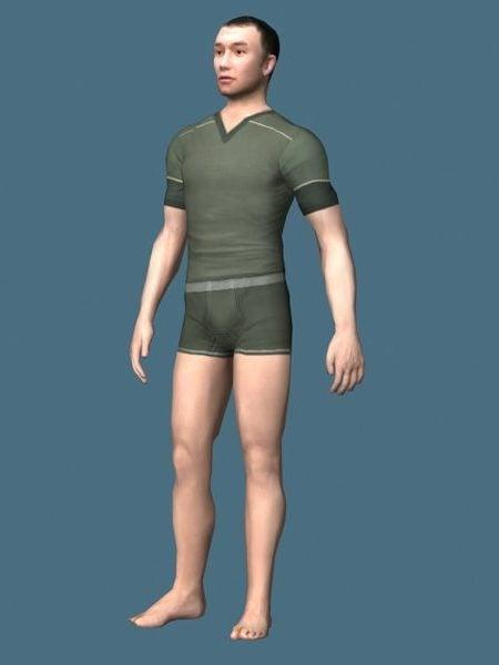 Asian Man In Underwear Set Rigged