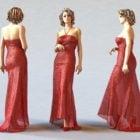 美しい赤いドレスの女性
