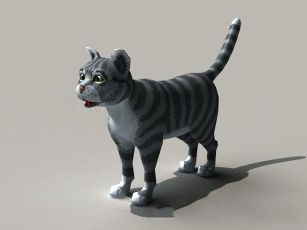 Black And Grey Cat Rigged