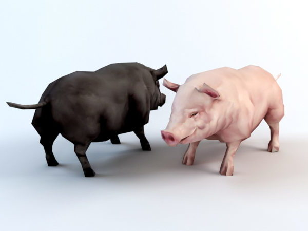 Cerdo negro y rosa