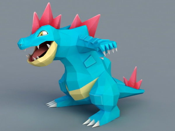 Dinosaurio azul de dibujos animados