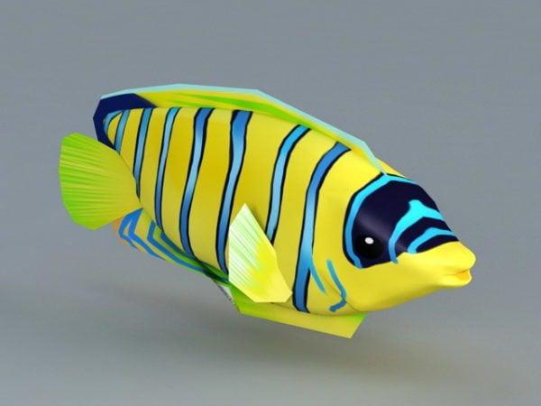 Sininen ja keltainen raidallinen kala