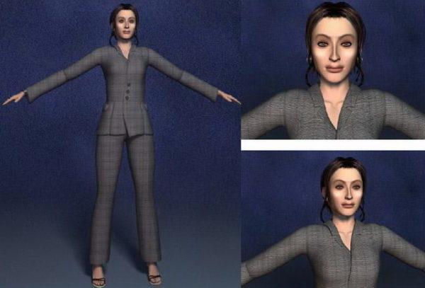 Mujer de negocios en traje negro personaje