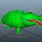 Cartoon Green Crocodile