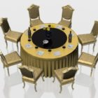 Classic Round Banquet Table And Chairs