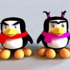 Female & Male Cartoon Penguin