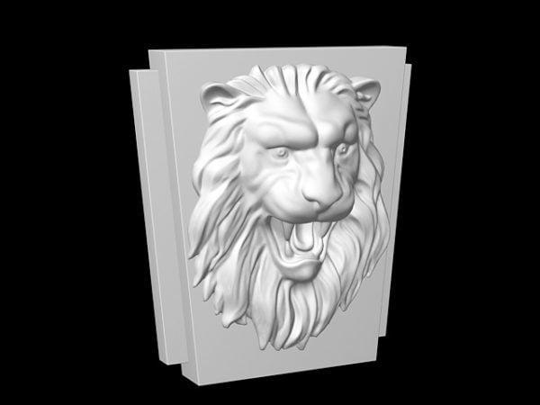 Escultura de alivio de cara de león
