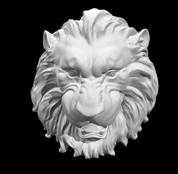 Escultura de alivio de cabeza de león