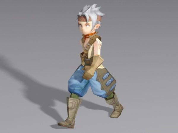Anime medieval Boy Walking Rigged