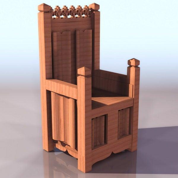 Keskiaikainen valtaistuinpuinen puinen materiaali