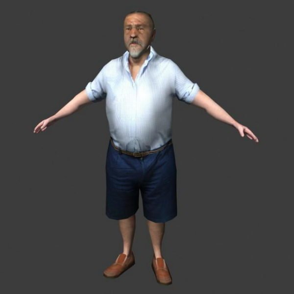 Character Old Man In T-pose
