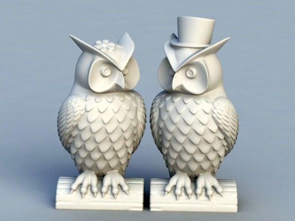 Estatua de jardín de pareja de búhos