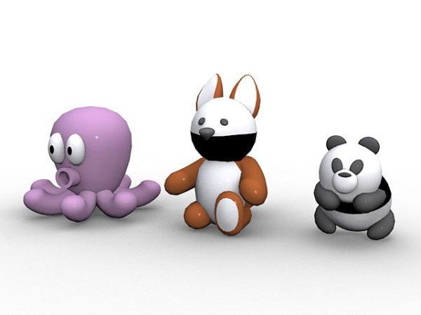 Panda,squirrel And Octopus Cartoon