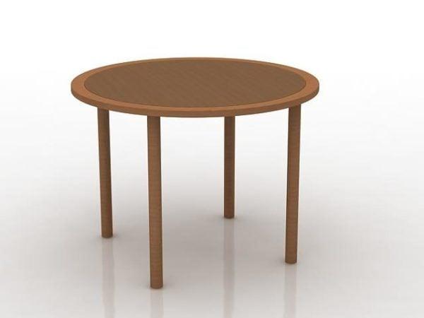 Pyöreä puu sohvapöytä
