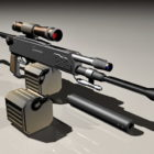 Sniper Rifle With Clips And Silencer