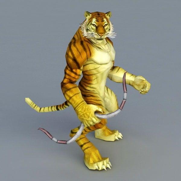 Tigre arquero con arco